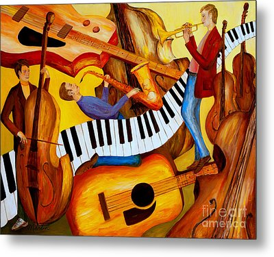 Strings And Things Metal Print by Larry Martin