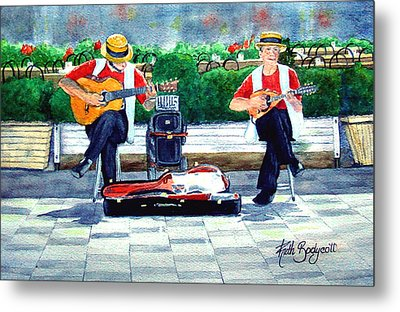 Strings At The Sidewalk Cafe Metal Print by Ruth Bodycott