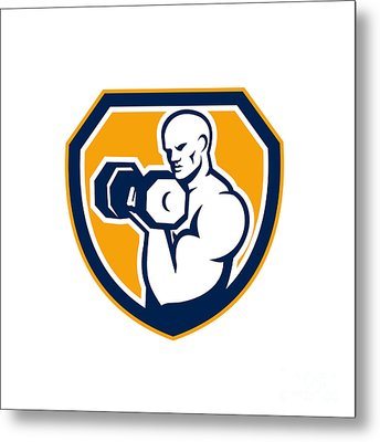 Strongman Pumping Dumbbells Shield Retro Metal Print by Aloysius Patrimonio