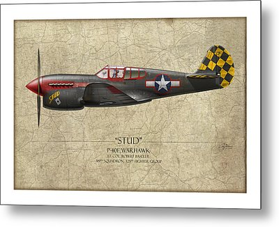 Stud P-40 Warhawk - Map Background Metal Print by Craig Tinder