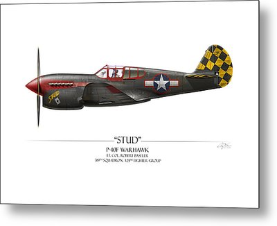 Stud P-40 Warhawk - White Background Metal Print by Craig Tinder
