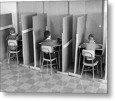 Students In Cubicles Metal Print by Underwood Archives