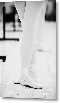 Students With Feet In The Third Position At A Ballet School In The Uk Metal Print by Joe Fox