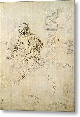 Studies For A Virgin And Child And Of Heads In Profile And Machines, C.1478-80 Pencil And Ink Metal Print by Leonardo da Vinci