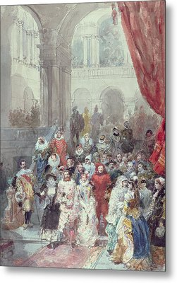 Study For A Costume Ball Given By The Princess Of Sagan Metal Print by Eugene-Louis Lami