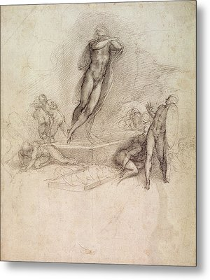 Study For An Ascension Metal Print by Michelangelo Buonarroti