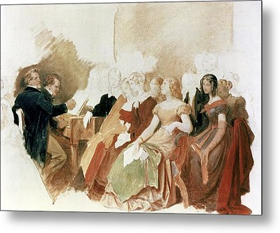 Study For An Evening At Baron Von Spauns Schubert At The Piano Among His Friends Metal Print by Moritz Ludwig von Schwind