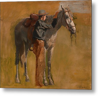 Study For Cowboys In The Badlands Metal Print by Mountain Dreams