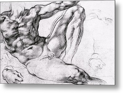 Study For The Creation Of Adam Metal Print by Michelangelo