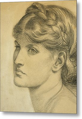 Study Of A Head For The Bower Meadow Metal Print by Dante Charles Gabriel Rossetti