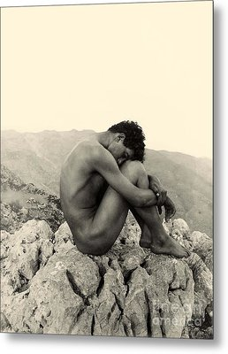 Study Of A Male Nude On A Rock In Taormina Sicily Metal Print by Wilhelm von Gloeden