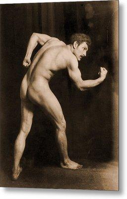 Study Of A Male Nude Metal Print by Wilhelm von Gloeden