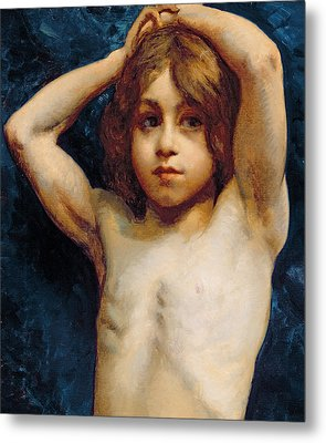Study Of A Young Boy Metal Print by William John Wainwright