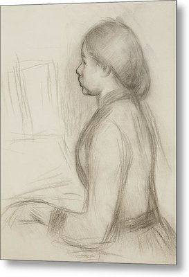 Study Of A Young Girl At The Piano Metal Print by Pierre Auguste Renoir