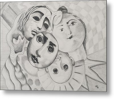 Study Of Faces In Pencil Metal Print by Carolyn Hubbard-Ford
