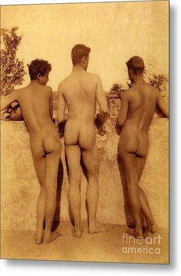 Study Of Three Male Nudes Metal Print by Wilhelm von Gloeden
