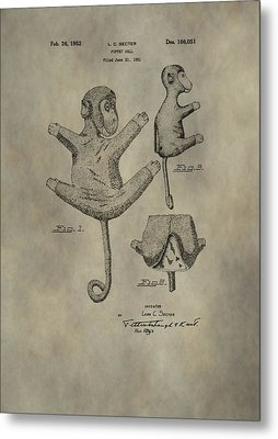 Stuffed Monkey Patent Metal Print by Dan Sproul