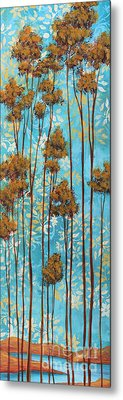 Stunning Abstract Landscape Elegant Trees Floating Dreams II By Megan Duncanson Metal Print by Megan Duncanson