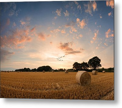 Stunning Summer Landscape Of Hay Bales In Field At Sunset Digital Painting Metal Print by Matthew Gibson