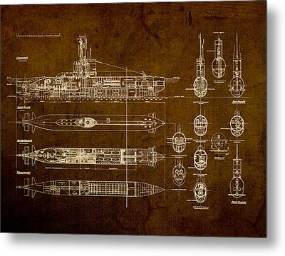 Submarine Blueprint Vintage On Distressed Worn Parchment Metal Print by Design Turnpike
