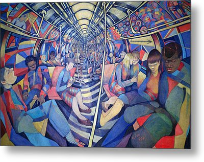Subway Nyc, 1994 Oil On Canvas Metal Print by Charlotte Johnson Wahl