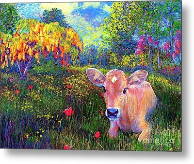 Such A Contented Cow Metal Print by Jane Small