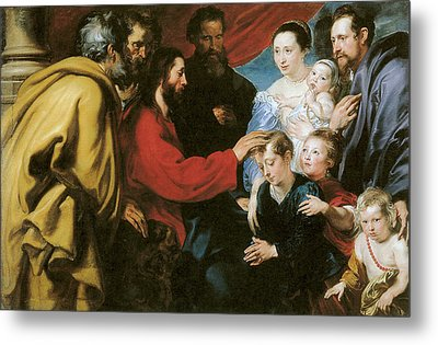 Suffer The Little Children To Come Unto Me Metal Print by Anthony Van Dyke