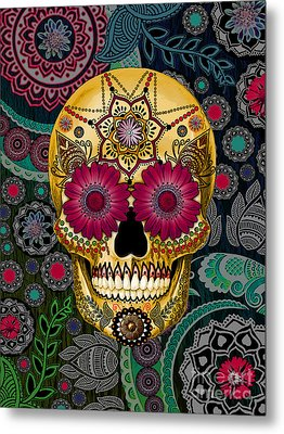 Sugar Skull Paisley Garden - Copyrighted Metal Print by Christopher Beikmann
