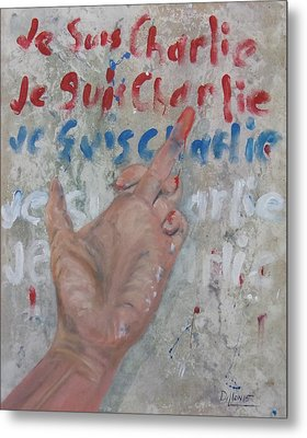 Je Suis Charlie Finger Painting To Al Qaeda Metal Print by Michael Dillon