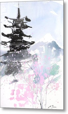 sumie No.10 Pagoda and Mt.Fuji Metal Print by Sumiyo Toribe