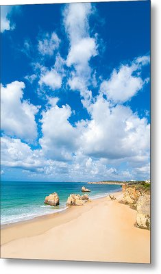 Summer Beach Algarve Portugal Metal Print by Amanda Elwell
