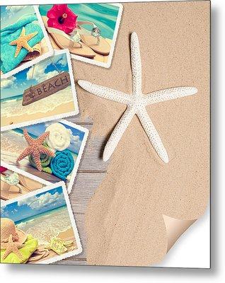 Summer Beach Postcards Metal Print by Amanda Elwell