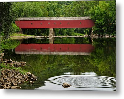 Summer Reflections At West Cornwall Covered Bridge Metal Print by Thomas Schoeller