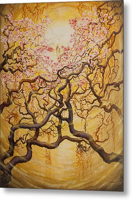 Sun And Sakura Metal Print by Vrindavan Das