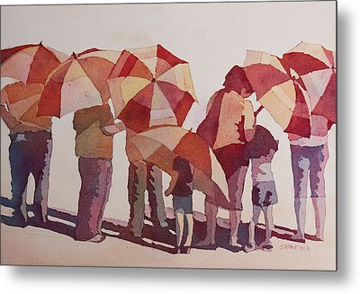 Sun Drenched Parasols  Metal Print by Jenny Armitage