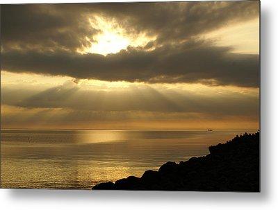 Sun Rays / Sea Pier Metal Print by Gynt