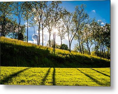 Sun Shining Through Trees And Shadows On The Grass At Antietam National Battlefield Maryland Metal Print by Jon Bilous