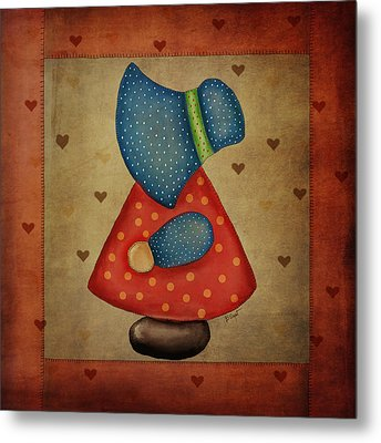 Sunbonnet Sue In Red And Blue Metal Print by Brenda Bryant