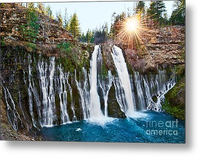 Sunburst Falls - Burney Falls Is One Of The Most Beautiful Waterfalls In California Metal Print by Jamie Pham