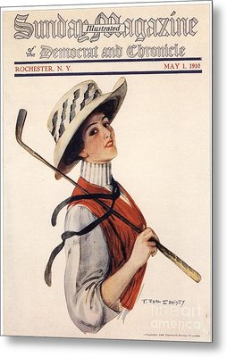 Sunday Magazine 1910s Usa Golf Womens Metal Print by The Advertising Archives