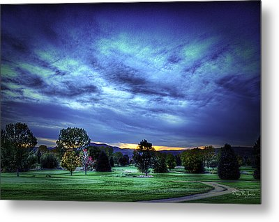 Sundown Behind The Hills Metal Print by Barry Jones