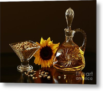 Sunflower And Crystal Metal Print by Inspired Nature Photography Fine Art Photography