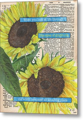 Sunflower Dictionary 2 Metal Print by Debbie DeWitt