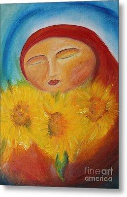 Sunflower Madonna Metal Print by Teresa Hutto