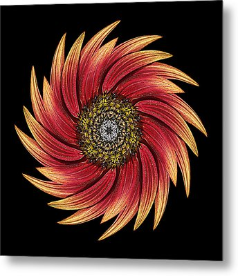 Sunflower Moulin Rouge Ix Flower Mandala Metal Print by David J Bookbinder