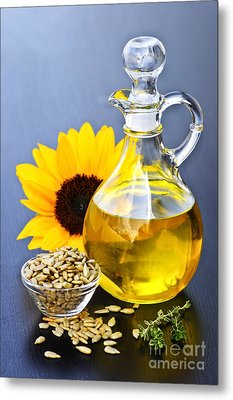 Sunflower Oil Bottle Metal Print by Elena Elisseeva