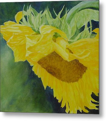 Sunflower Original Oil Painting Colorful Bright Sunflowers Art Floral Artist K. Joann Russell  Metal Print by K Joann Russell