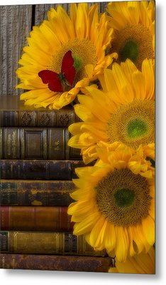 Sunflowers And Old Books Metal Print by Garry Gay
