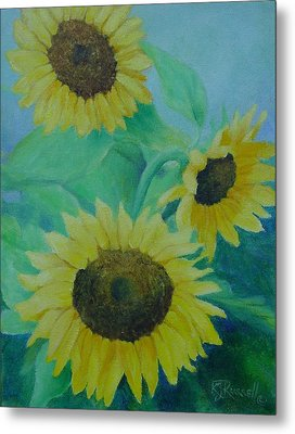 Sunflowers Bouquet Original Oil Painting Metal Print by K Joann Russell