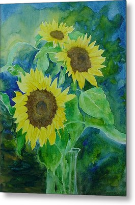 Sunflowers Colorful Sunflower Art Of Original Watercolor Metal Print by K Joann Russell